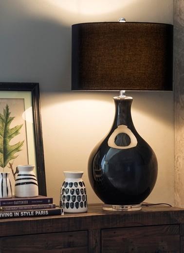 Warm Design Siyah Cam Masa Abajuru Siyah